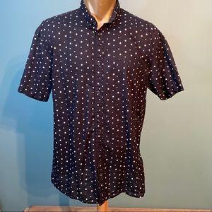 H&M men's blue polka dot button up shirt